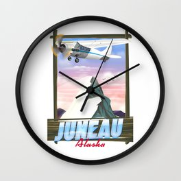 Juneau Alaska travel poster Wall Clock