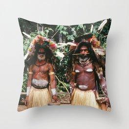 Papua New Guinea Village Sing Sing Authentic Celebration Throw Pillow