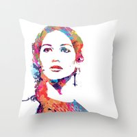 katniss Throw Pillows featuring Katniss by lauramaahs