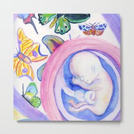 Butterfly Baby Belly - Reflection on Pregnancy Metal Print