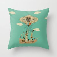 pirates Throw Pillows featuring sky pirates by bri.buckley