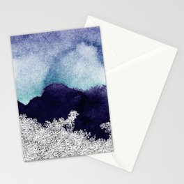 Silver foil on blue indigo paint Stationery Cards