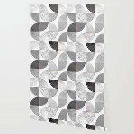 Marble Gray Copper Black and white circles Wallpaper