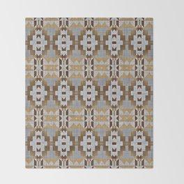 Brown Taupe Tan Gray Native American Indian Mosaic Pattern Throw Blanket