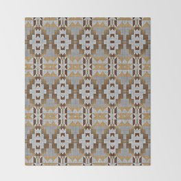 Brown Taupe Tan Gray Native American Indian Mosaic Pattern Throw Blanket