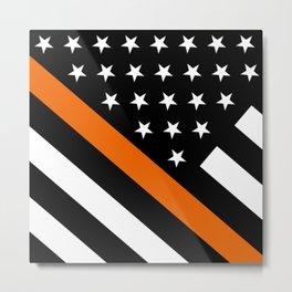 Search & Rescue: Black Flag & Thin Orange Metal Print