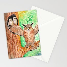 Horned Owl and Owlets in a Nest Stationery Cards