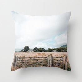Wheat field in Scotland Throw Pillow