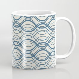 Blue & Linen White Thin Overlapping Horizontal Lines Pattern Pairs To 2020 Color of the Year Coffee Mug