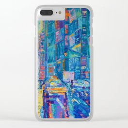 Streets of New York - palette knife urban city landscape by Adriana Dziuba Clear iPhone Case