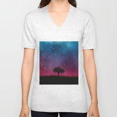 Tree Space Galaxy Cosmos Unisex V-Neck