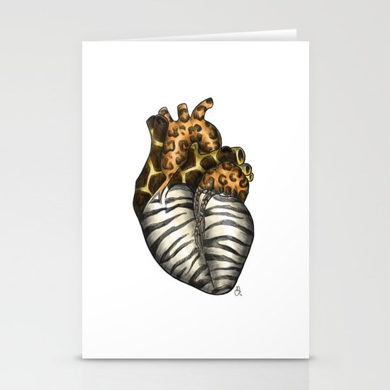 Heart gone wild - color  Stationery Cards
