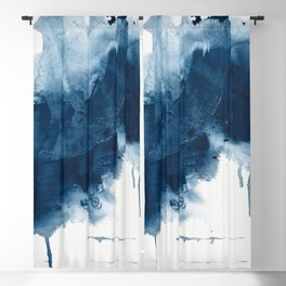 Where does the dance begin? A minimal abstract acrylic painting in blue and white by Alyssa Hamilton Blackout Curtain