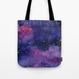 Watercolor Galaxy Nebula Pink Purple Sky Stars Tote Bag