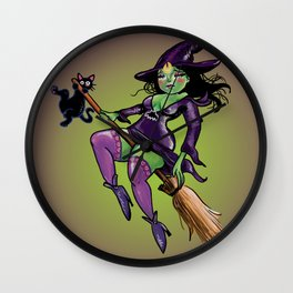 Witchy Babe Pin Up Wall Clock