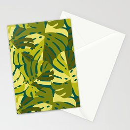 Monstera Leaves in Green Stationery Cards