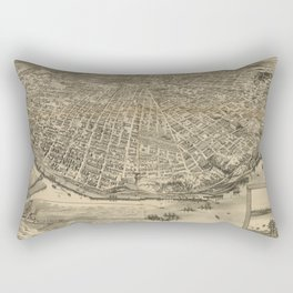Vintage Pictorial Map of Tacoma WA (1893) Rectangular Pillow