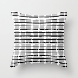Black and White Distressed Plaid Throw Pillow