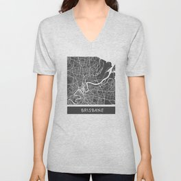 Brisbane Map Unisex V-Neck