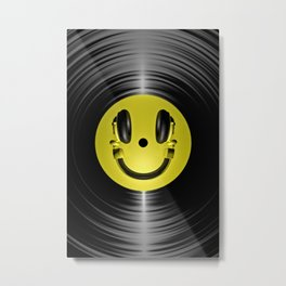 Vinyl headphone smiley Metal Print
