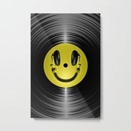 Vinyl headphone smiley Metal Print