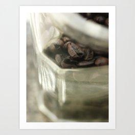 Coffee beans in glass jar - still life - fine art print for coffeehouse, coffee shop, cafe, café Art Print