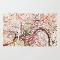 cincinnati Area & Throw Rugs featuring Cincinnati by MapMapMaps.Watercolors