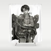 levi Shower Curtains featuring Levi Ackerman by OtakuRuki