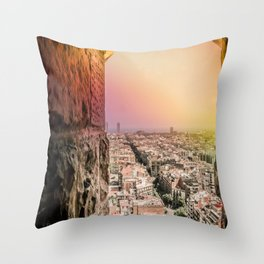 Colorful Rainbow View from Sagrada Familia over the Old City of Barcelona Throw Pillow