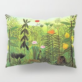 Exotic Jungle Landscape with Lion and Lioness by Henri Rousseau Pillow Sham