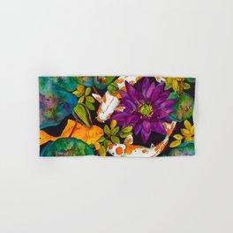 Purple Lily and Koi Fish Hand & Bath Towel