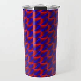 Chaotic pattern of blue rhombuses and red pyramids in a zigzag. Travel Mug