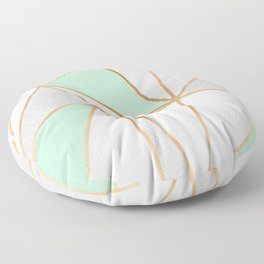 Mint Green, Grey & Gold Geo Floor Pillow