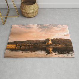 Elian Donan Castle in Scotland during Sunset – Landscape Photography Rug