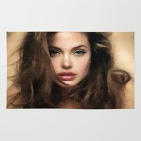 angelina jolie Area & Throw Rugs featuring Angelina Jolie Hair by Brian Raggatt