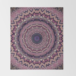 Mauve Bohemian Mandala Design Throw Blanket