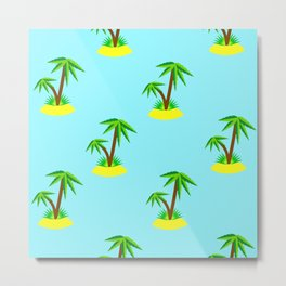 Summer Fun Pattern: Palm Tree Islands Floating in Ocean Metal Print