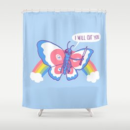 Butterfly Knife Shower Curtain
