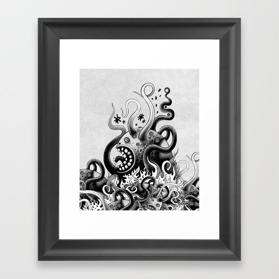 Dark Octoworm Framed Art Print