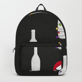 Christmas champagne bottle with Christmas light bulb. Happy new year pattern black background Backpack