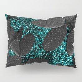 Black Cacti on Aqua Blue Glitter #1 #shiny #decor #art #society6 Pillow Sham