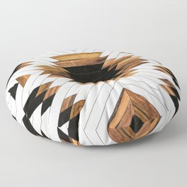 Urban Tribal Pattern 5 - Aztec - Concrete and Wood Floor Pillow