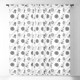 Dahlia Flowers Pattern - White Grey Blackout Curtain