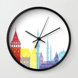 Istanbul skyline pop Wall Clock