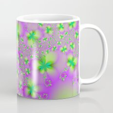 Green Yelow and Pink Abstract Flowers Mug