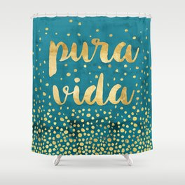Pura Vida Gold on Teal Shower Curtain