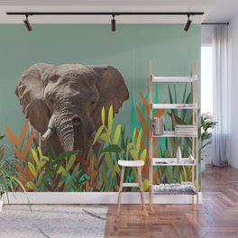 Elephant with colorful leaves Wall Mural