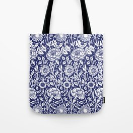 "William Morris Floral Pattern | ""Pink and Rose"" in Navy Blue and White Tote Bag"