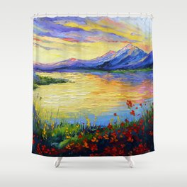 Flowers on the shore of the lake Shower Curtain