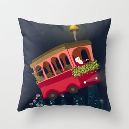 Holly Jolly Trolley Throw Pillow